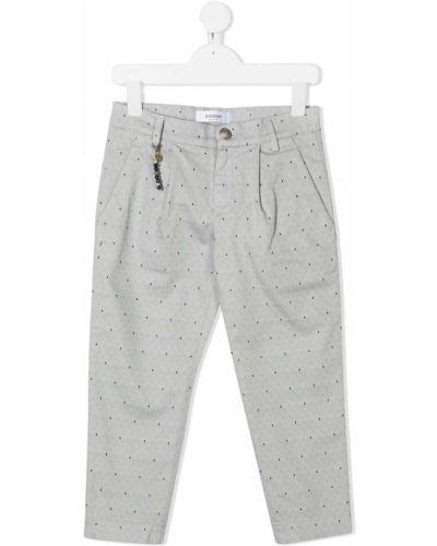 Прямые хлопковые серые чиносы с карманами Dondup Kids