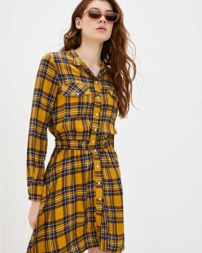 Желтое платье-рубашка Please