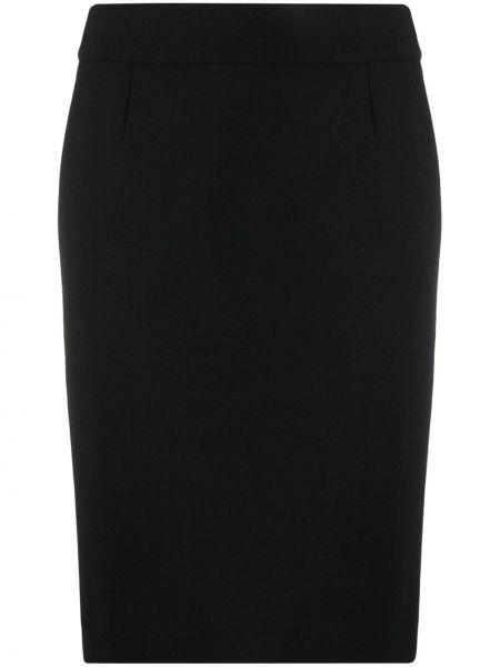 Шерстяная черная с завышенной талией юбка миди на молнии Paule Ka