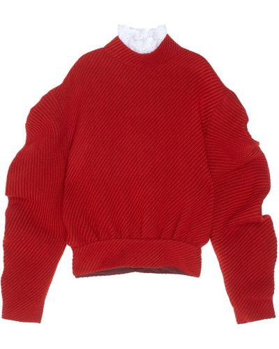 Шерстяной красный джемпер с воротником A.w.a.k.e.