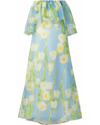Шелковое синее платье макси на крючках Carolina Herrera