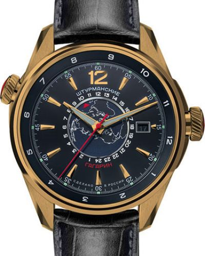 Часы механические водонепроницаемые с кожаным ремешком Штурманские