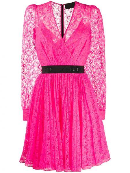 Платье с поясом розовое с запахом Philipp Plein