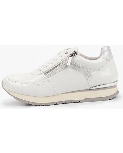 Лаковые кожаные белые кроссовки Tamaris