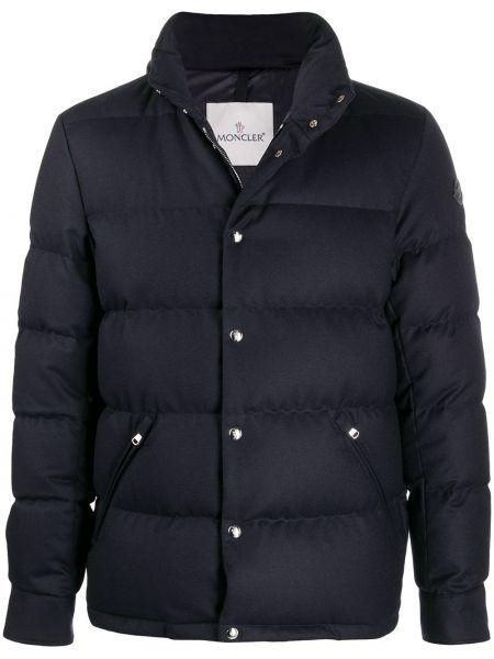 Пуховая серебряная длинная куртка с карманами с заплатками Moncler