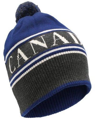 Шерстяная синяя шапка с помпоном Canada Goose