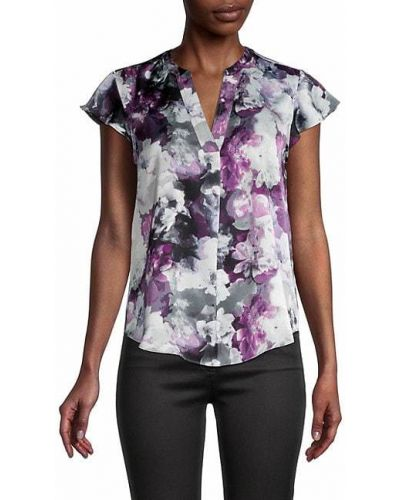 Fioletowa bluzka z dekoltem w serek z printem Calvin Klein
