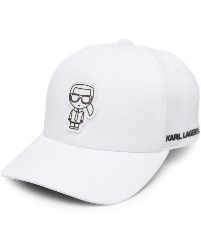 Хлопковая белая кепка с нашивками Karl Lagerfeld