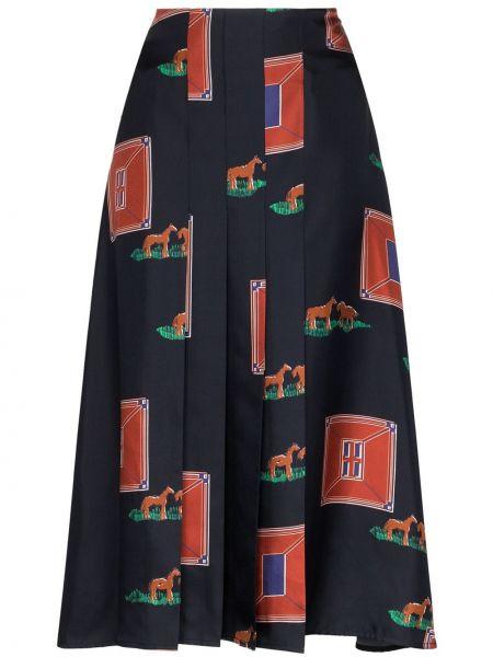 Плиссированная юбка с завышенной талией синяя Victoria Beckham