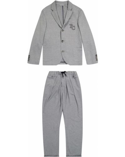 Szary garnitur bawełniany Brunello Cucinelli Kids