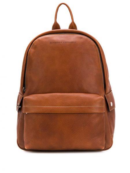 Skórzany plecak z logo Brunello Cucinelli
