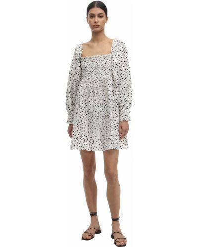 Biała sukienka długa koronkowa z printem Rixo