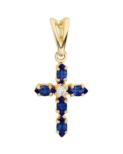 Золотистый крест с бриллиантом золотой алькор