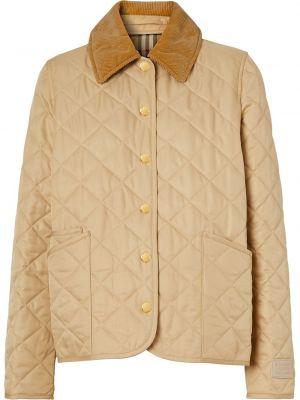 Коричневая стеганая длинная куртка вельветовая Burberry