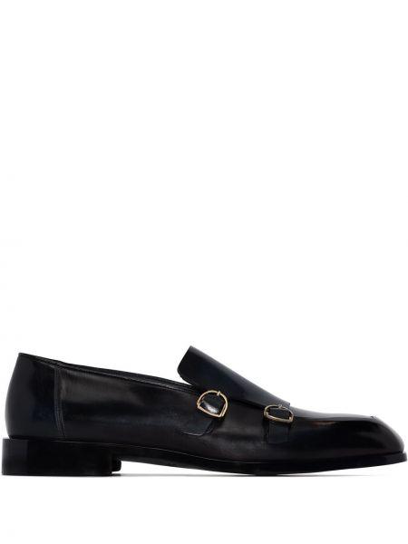 Лаковые черные кожаные туфли Santoni
