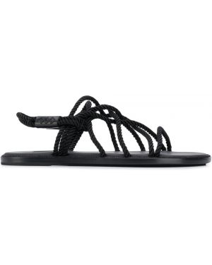 Черные кожаные плетеные сандалии с открытым носком Ann Demeulemeester