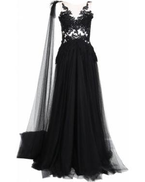 Черное приталенное плиссированное вечернее платье прозрачное Rhea Costa