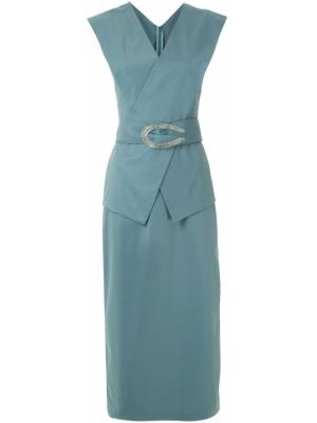 Платье миди с V-образным вырезом с поясом Framed