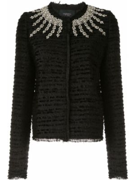 Черная джинсовая куртка круглая со стразами с круглым вырезом Giambattista Valli
