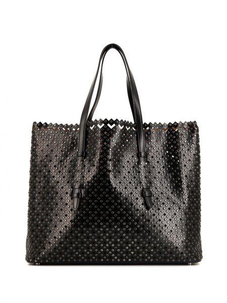 Черная сумка шоппер с заклепками с перфорацией металлическая Alaïa Pre-owned