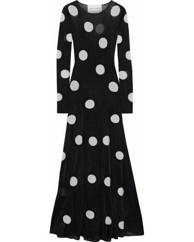 Шерстяное черное платье макси Carolina Herrera