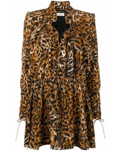 Платье на пуговицах леопардовое Saint Laurent