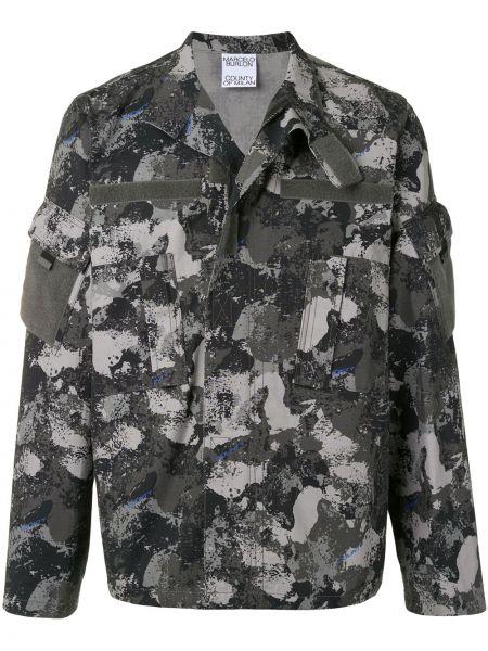 Bawełna bawełna długa kurtka z długimi rękawami z kołnierzem Marcelo Burlon County Of Milan