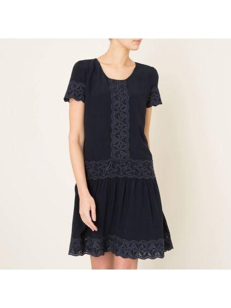 Плиссированное платье мини с вышивкой на пуговицах со складками Berenice
