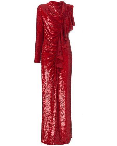Красное платье с оборками Ashish