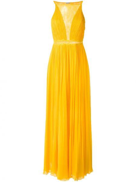 Желтое шелковое плиссированное платье со вставками Tufi Duek
