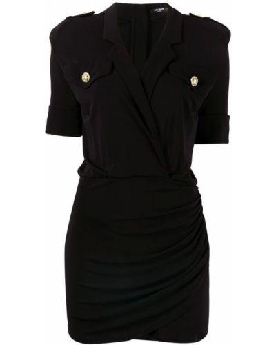 Czarna sukienka midi elegancka krótki rękaw Balmain