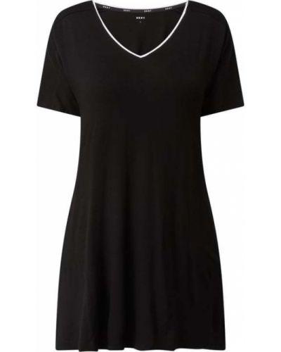 Czarna koszula nocna z wiskozy z dekoltem w serek Dkny