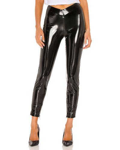Czarne legginsy skorzane asymetryczne H:ours