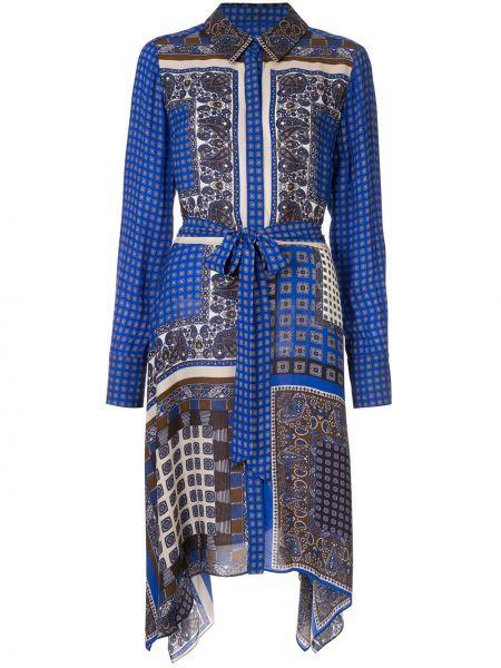 Niebieska sukienka długa asymetryczna z długimi rękawami Elie Tahari