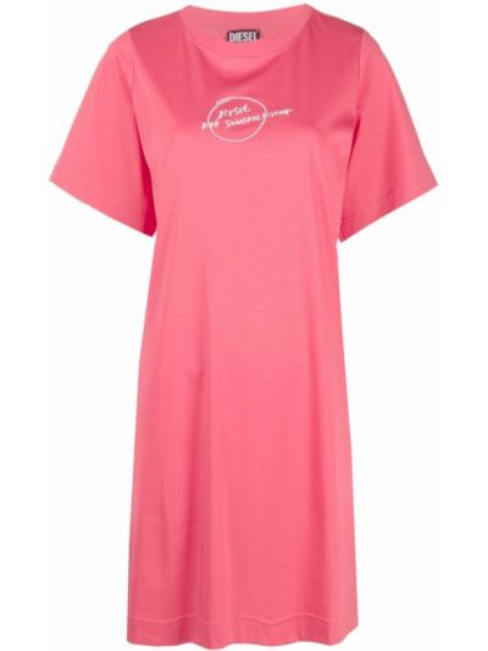 Розовое хлопковое платье рубашка с принтом Diesel