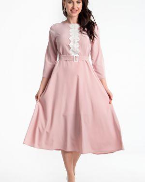 Платье с поясом розовое платье-сарафан Lady Taiga