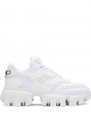 Białe sneakersy sznurowane koronkowe Prada