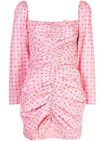 Шелковое розовое платье мини с вышивкой с вырезом Markarian