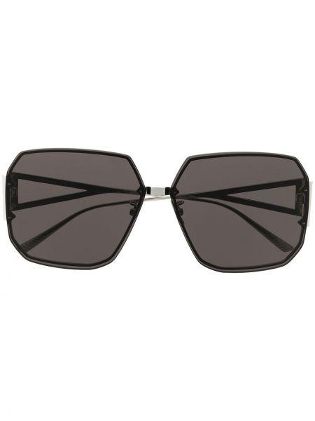 Черные солнцезащитные очки металлические с декоративной отделкой Bottega Veneta Eyewear