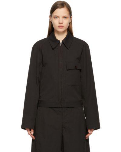 Czarna długa kurtka bawełniana z długimi rękawami Lemaire