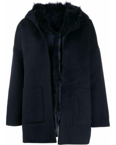 Однобортное синее шерстяное длинное пальто S.w.o.r.d 6.6.44
