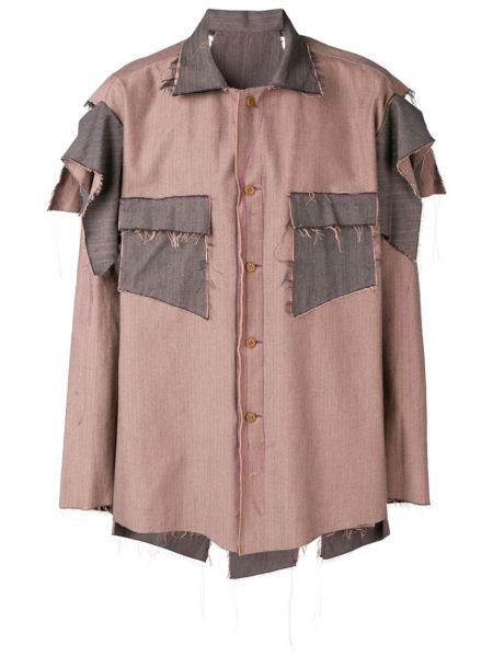Koszula bawełniana z długimi rękawami asymetryczna Sulvam
