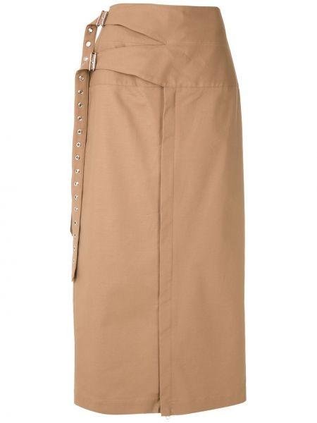Хлопковая коричневая прямая юбка миди с пряжкой Reinaldo Lourenço