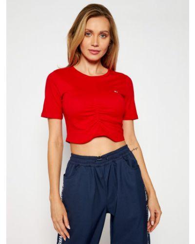 Czerwony koszula jeansowa z falbanami Tommy Jeans