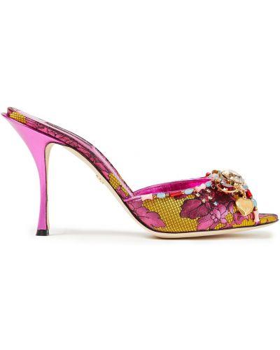 Кожаные сандалии - розовые Dolce & Gabbana