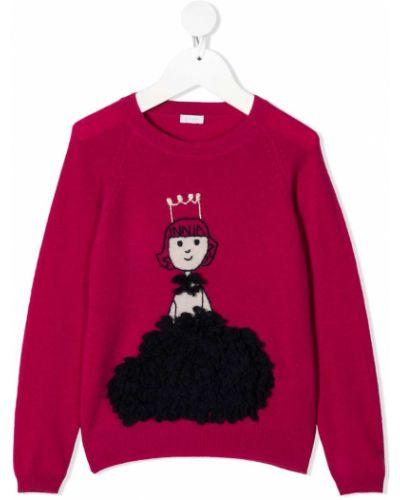 Розовый джемпер с длинными рукавами с вышивкой Il Gufo