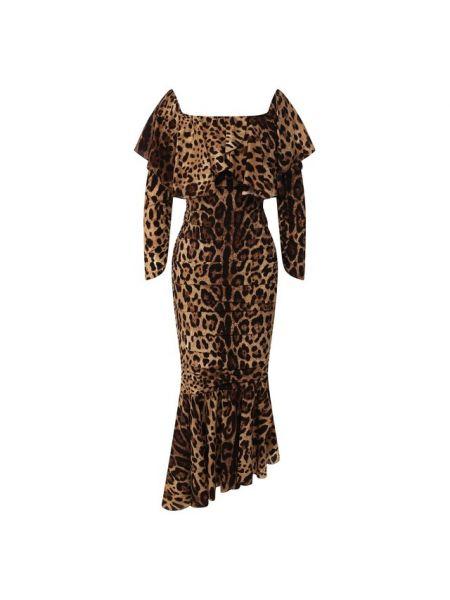 Платье леопардовое шелковое Dolce & Gabbana