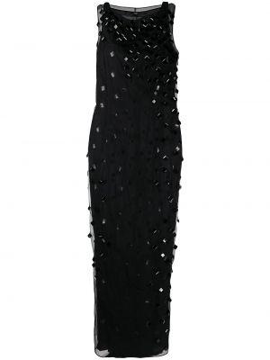 Шелковое черное платье без рукавов с вырезом Gianfranco Ferre Pre-owned