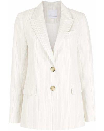 Белый классический пиджак в полоску на пуговицах НК