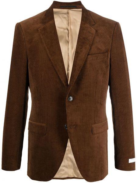 Коричневый удлиненный пиджак вельветовый на пуговицах Tiger Of Sweden